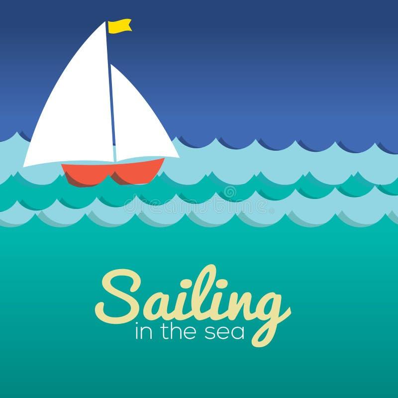 Segelbåt i havet stock illustrationer