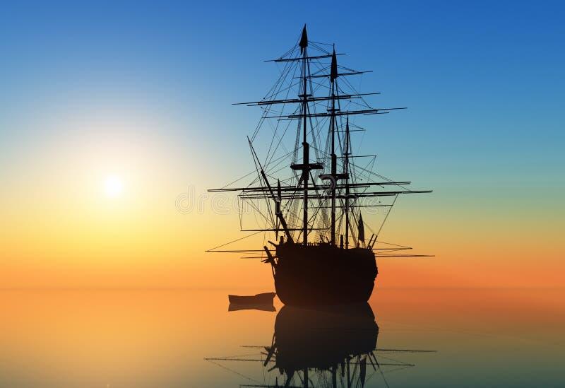 Segelbåt i havet royaltyfri illustrationer