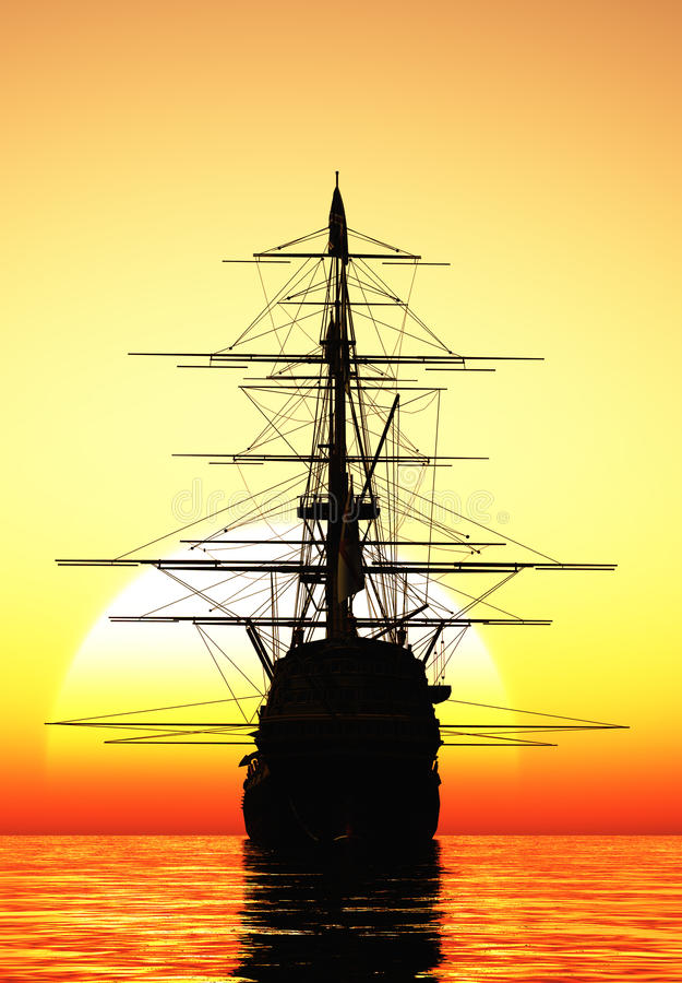 Segelbåt i havet vektor illustrationer