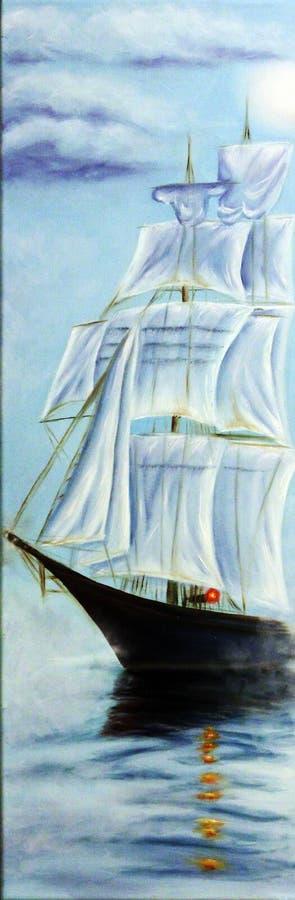 Segelbåt i havet Moln dimmig morgon Olja på kanfas royaltyfri illustrationer