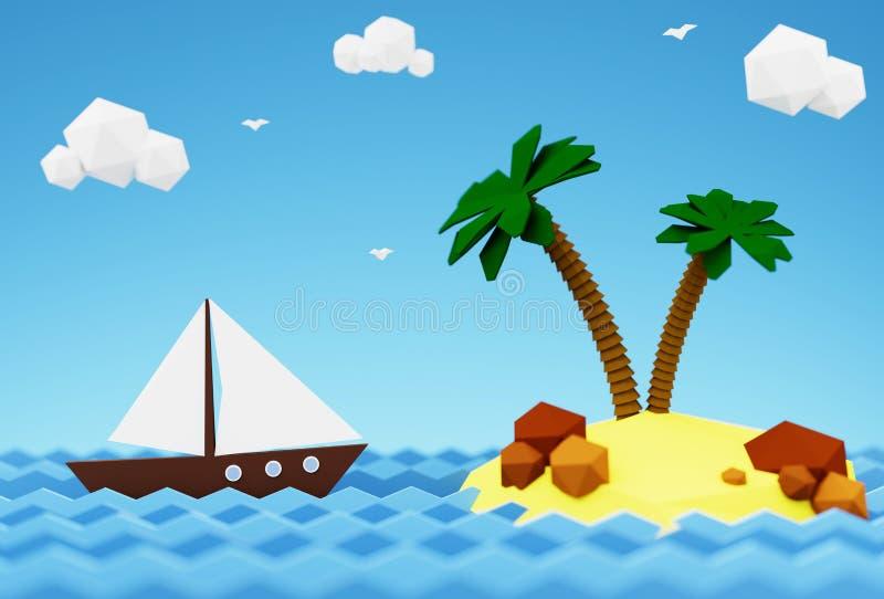 Segelbåt i havet nära en öde ö med palmträd 3D illustration - sommarsemester på havet royaltyfri illustrationer