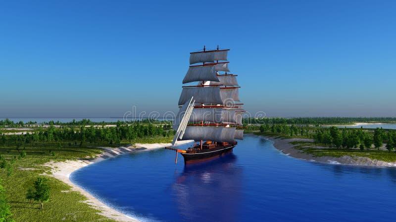 Segelbåt i lagunen stock illustrationer