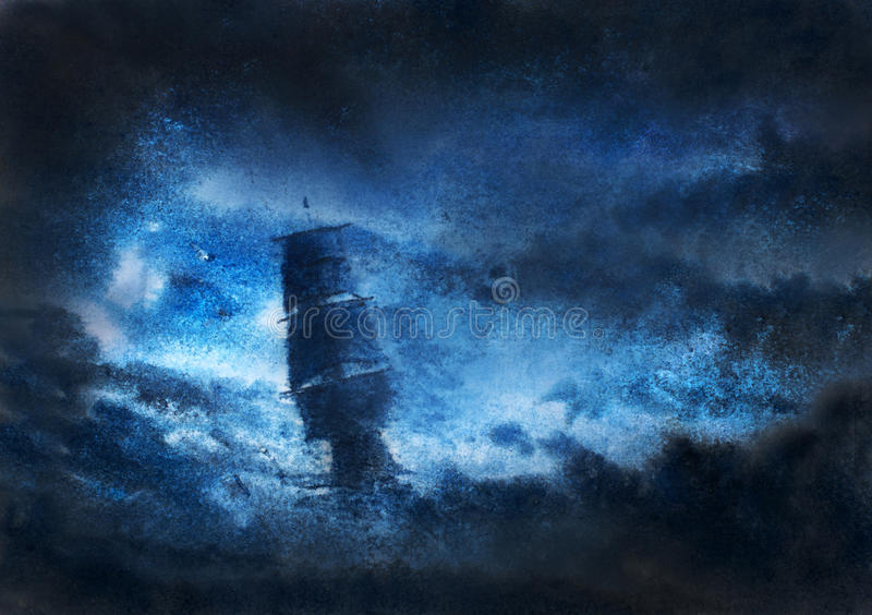 Segelbåt i nattstorm royaltyfri foto