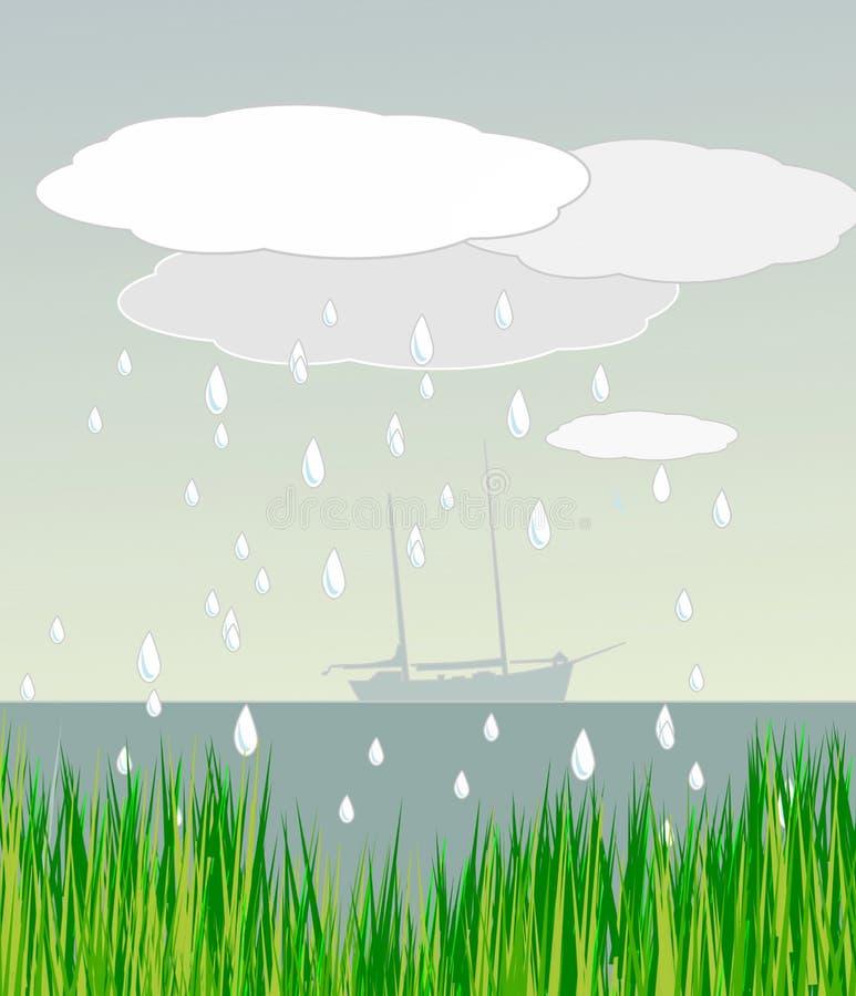 Segelbåt i regnigt väder royaltyfri illustrationer