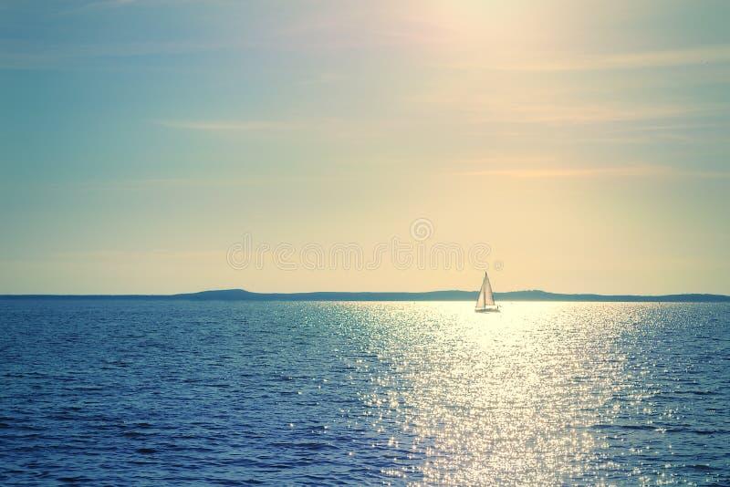 Segelbåt i solljus arkivfoton