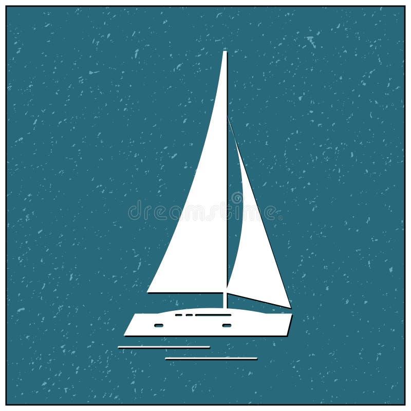 Segelbåt i sommarsymbol royaltyfri illustrationer