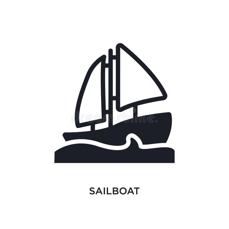 Segelbåt isolerad symbol enkel beståndsdelillustration från nautiska begreppssymboler för logotecken för segelbåt redigerbar desi stock illustrationer