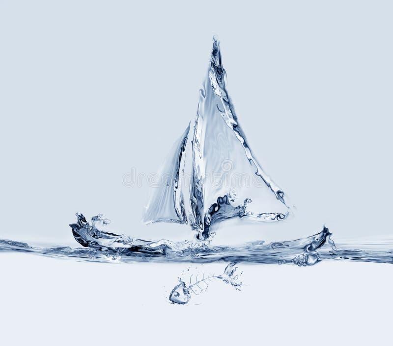 Segelbåt med fishbonen arkivbild