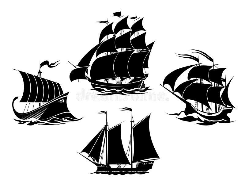 Segelbåt- och för seglingskepp konturer royaltyfri illustrationer