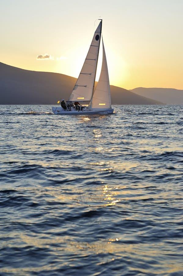 Segelbåt på solnedgången arkivbilder