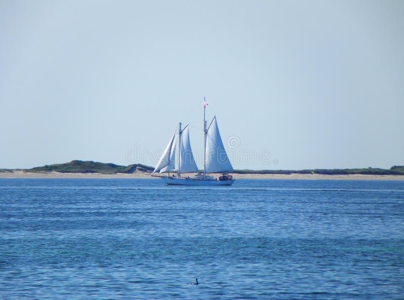 Segelbåt som lämnar Provincetown Cape Cod royaltyfria foton