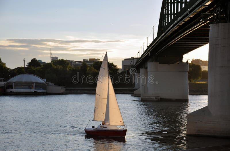 Segelbåt under bron fotografering för bildbyråer