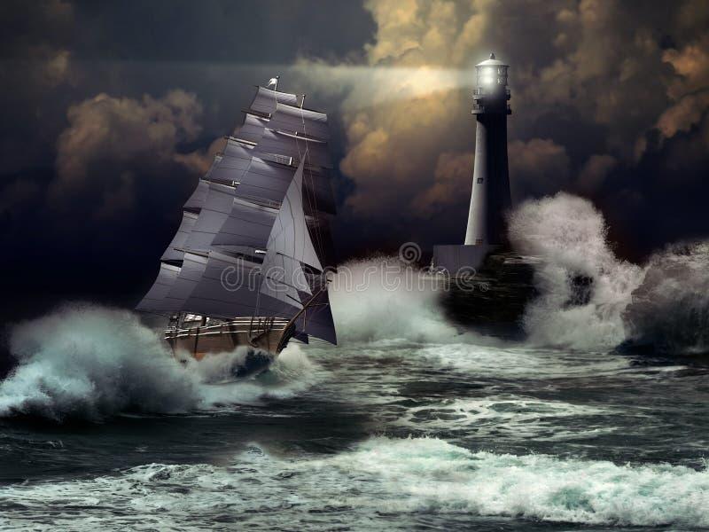 Segelbåt under storm stock illustrationer