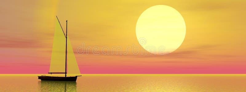 Segelbåt vid solnedgång vektor illustrationer