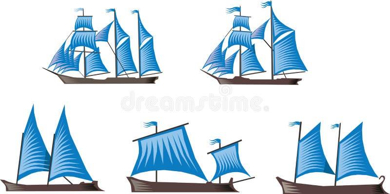 segelbåtar stock illustrationer