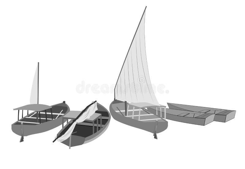 Segelbåtar vektor illustrationer