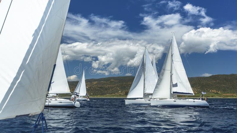 Segelbåtar deltar i seglingregatta på havet arkivbilder