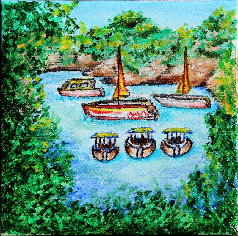 Segelbåtar i havet Liten havslagun Olja på kanfas royaltyfri illustrationer