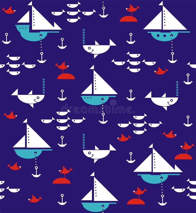 Segelbåtar med ankaren, hajar, fisken och havsfiskmåsar royaltyfri illustrationer