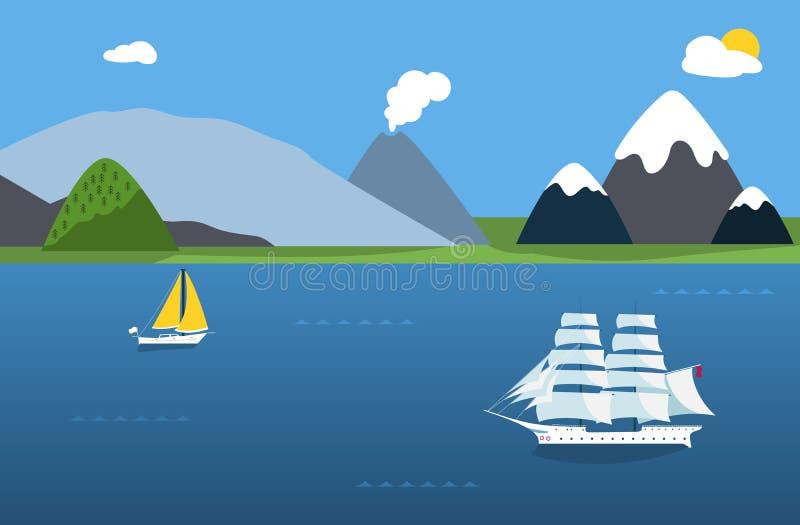 Segelbåtar och havslandskap royaltyfri illustrationer