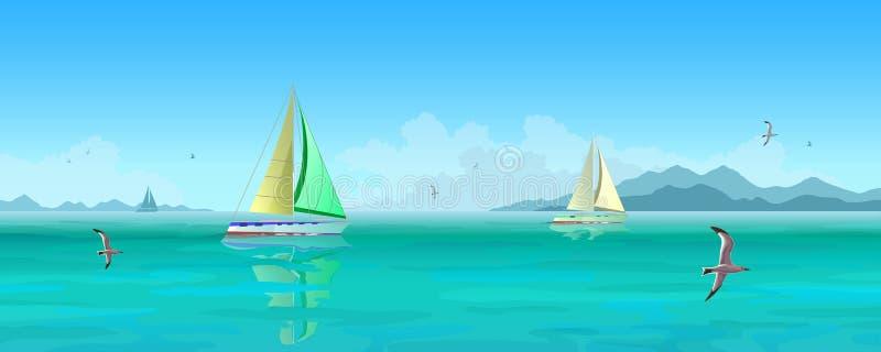 Segelbåtar och seagulls som flyger över det blåa havet royaltyfri illustrationer