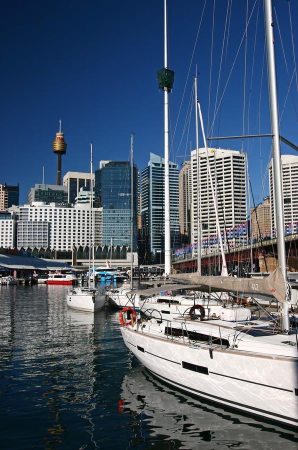 Segelbåtar som förtöjas i marina med iconic cityscape av moderna skyskrapor på hamnstrand i bubblafjärden, Darling Harbour, Sydne arkivfoto