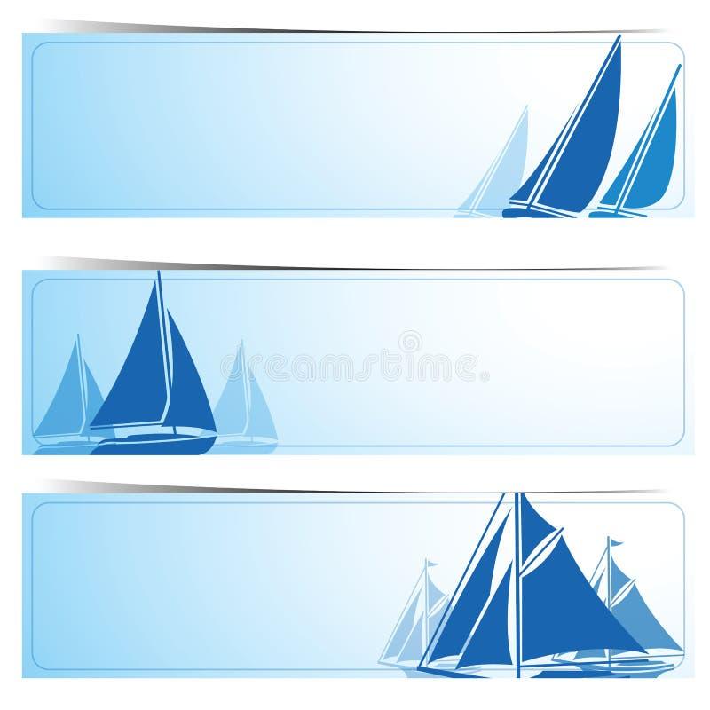 Segelbåtbaner stock illustrationer