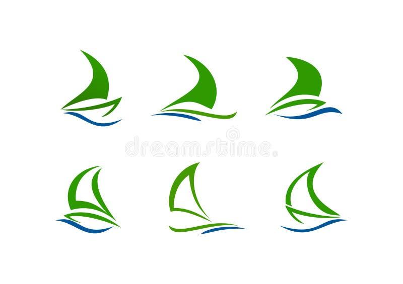 Segelbåtlogo stock illustrationer