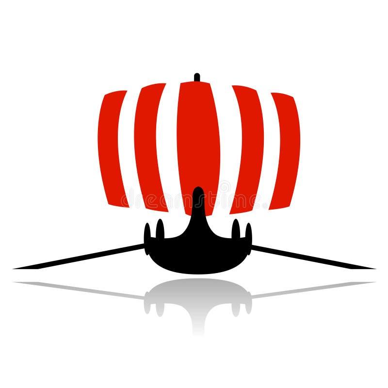 segelbåtshipvektor viking royaltyfri illustrationer