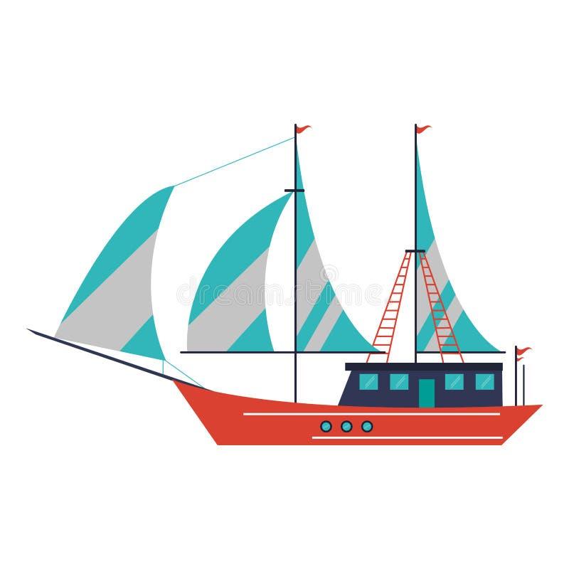 Segelbåtskeppsymbol stock illustrationer