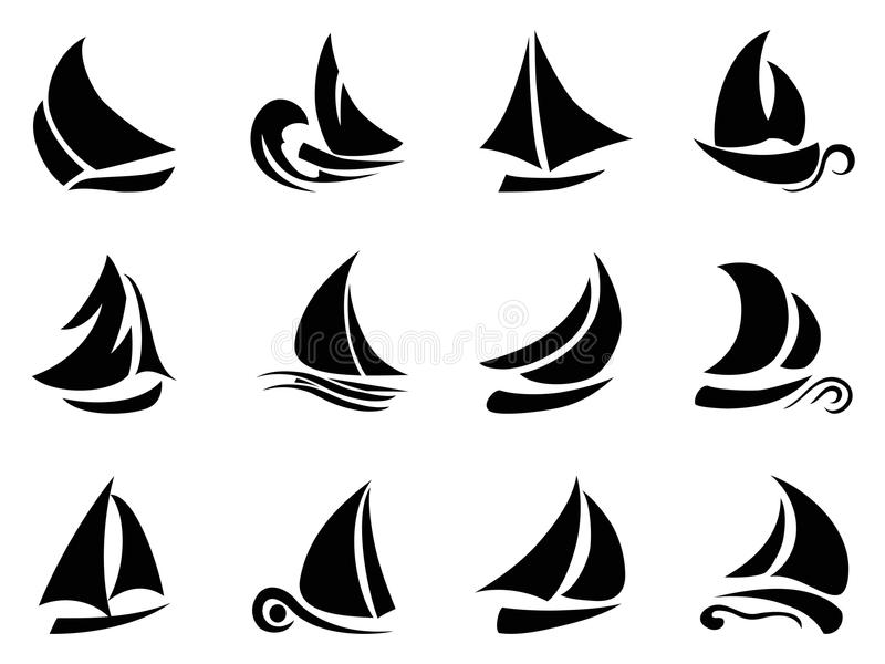 Segelbåtsymbol vektor illustrationer