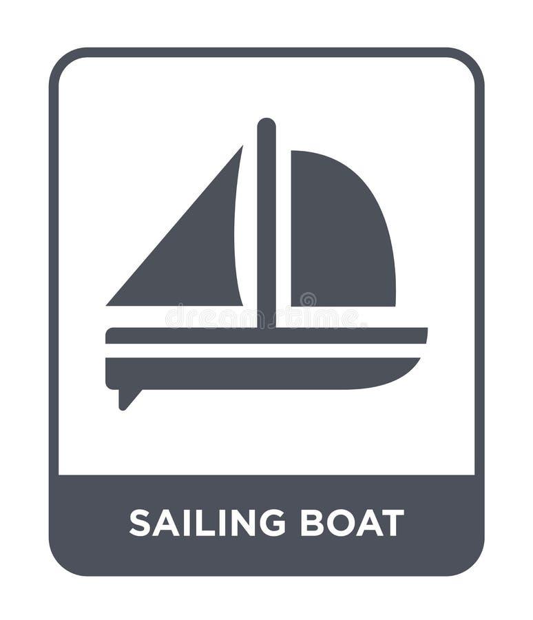 segelbåtsymbol i moderiktig designstil Segelbåtsymbol som isoleras på vit bakgrund enkel segelbåtvektorsymbol och stock illustrationer