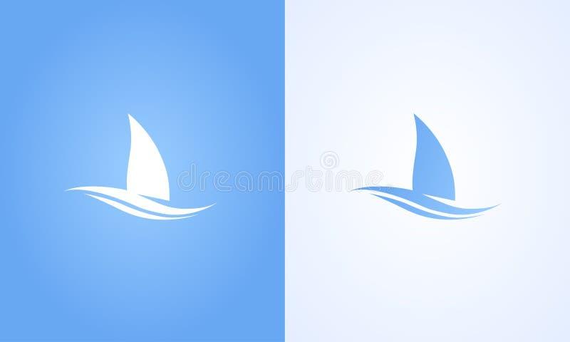 Segelbåtsymbol på vit- och blåttbakgrund royaltyfri illustrationer
