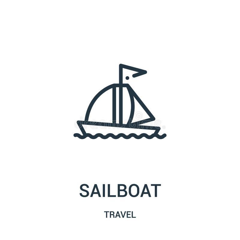segelbåtsymbolsvektor från loppsamling Tunn linje illustration för vektor för segelbåtöversiktssymbol Linjärt symbol för bruk på  royaltyfri illustrationer