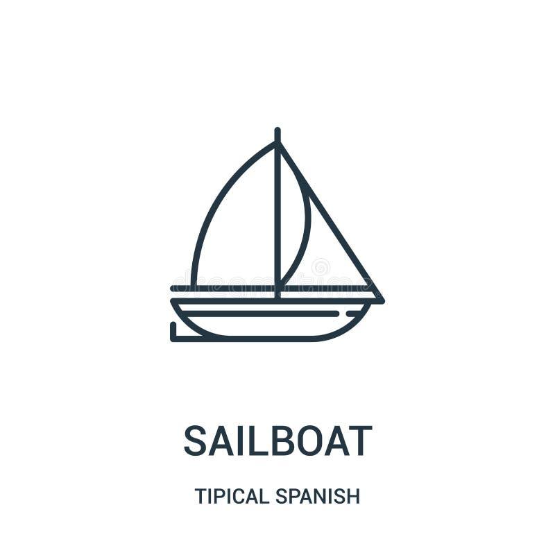 segelbåtsymbolsvektor från tipical spansk samling Tunn linje illustration för vektor för segelbåtöversiktssymbol Linjärt symbol f stock illustrationer