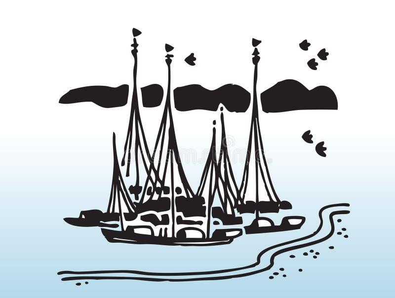 Segelbåtvektorbild stock illustrationer