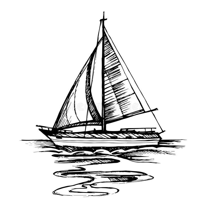 Segelbåtvektorn skissar isolerat med reflexion stock illustrationer