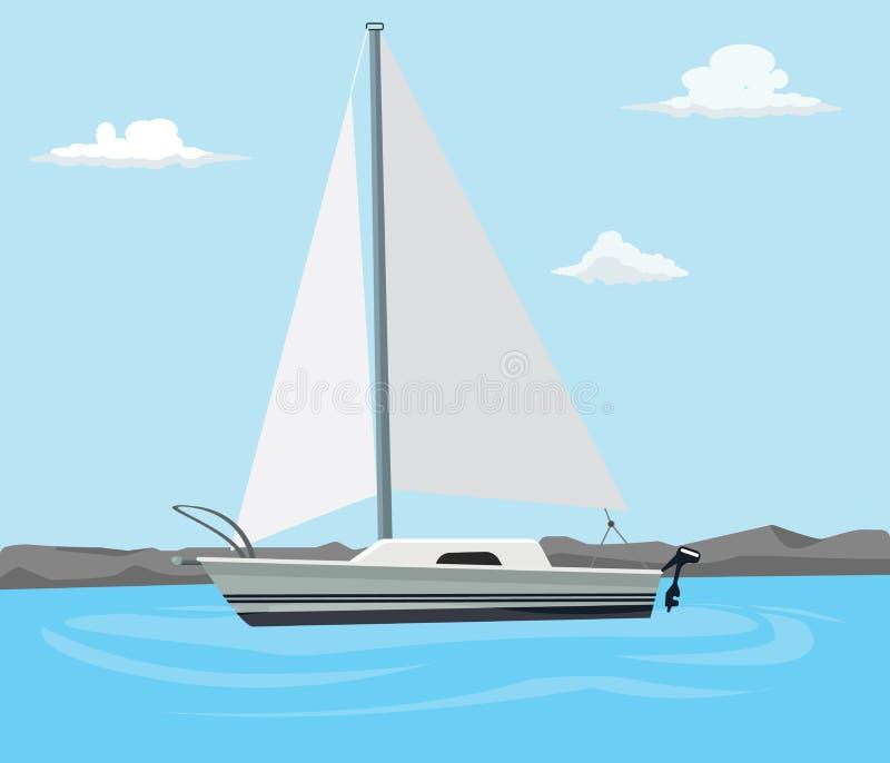 Segelboot auf dem blauen Meer mit Wolke und flacher Art vektor abbildung