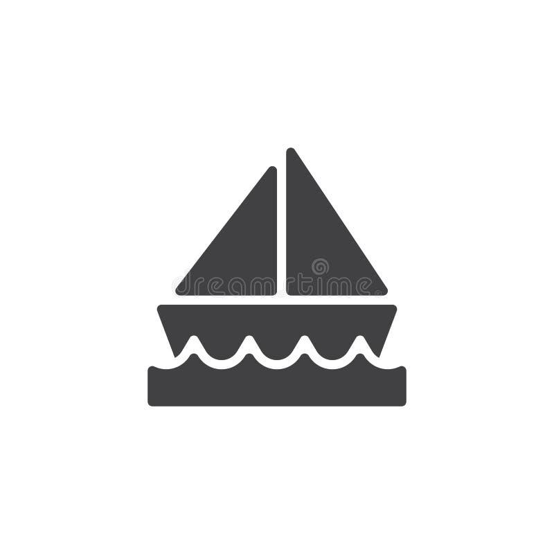 Segelboot auf der Wasservektorikone stock abbildung