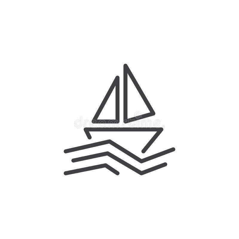 Segelboot in der Seeentwurfsikone vektor abbildung