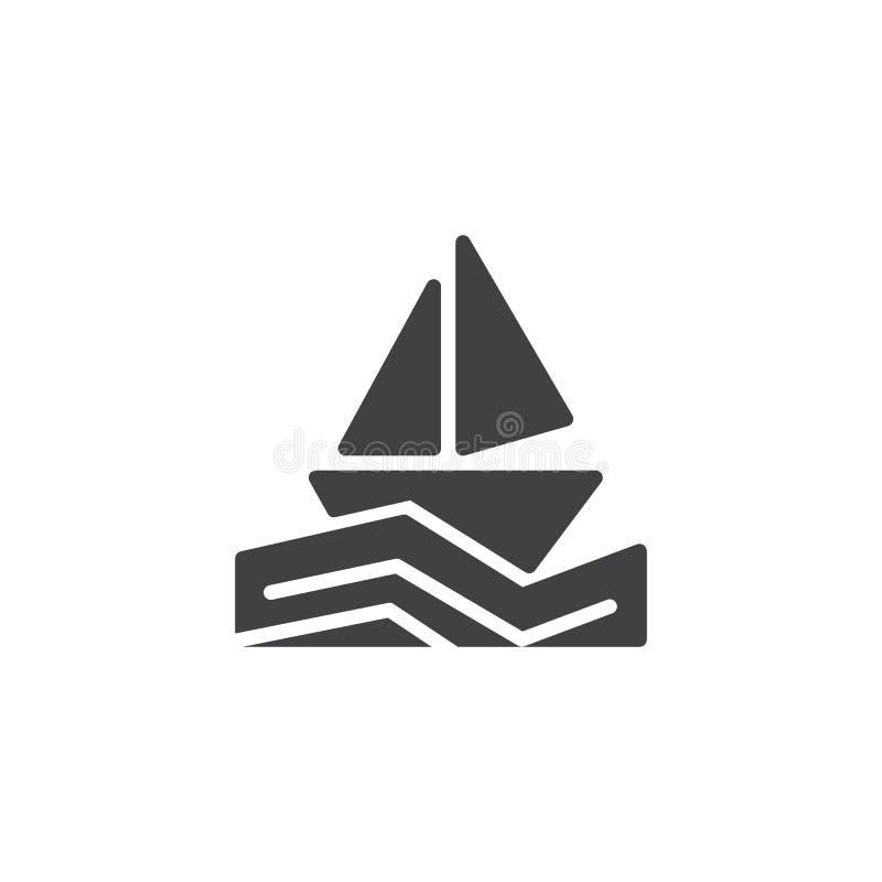 Segelboot in der Seevektorikone stock abbildung