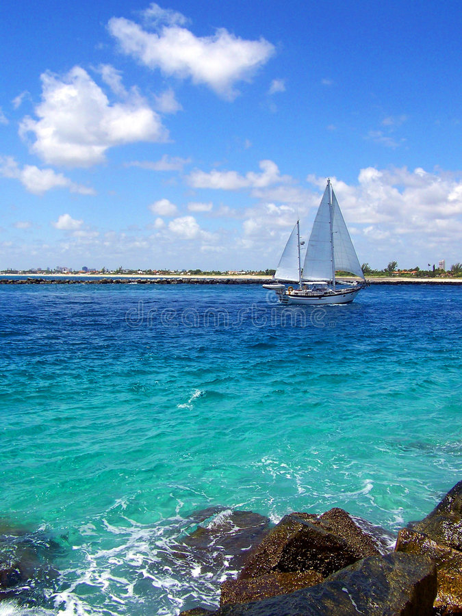 Segelboot in Florida lizenzfreies stockbild