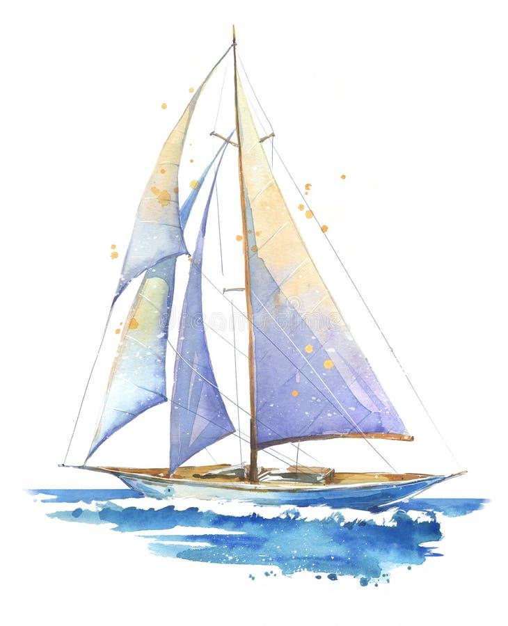 Segelboot, handgemalte Aquarellillustration vektor abbildung