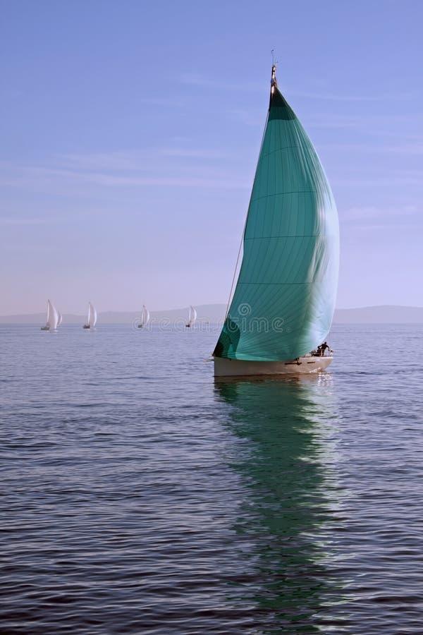 Download Segelboot Mit Grünem Spinnaker Stockbild - Bild von segel, ozean: 27732431