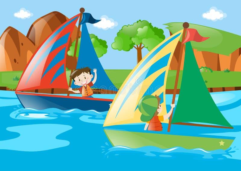 Segelboot mit zwei Jungen im Fluss lizenzfreie abbildung