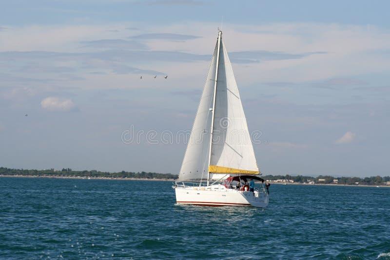 Segelboot nahe dem Hafen lizenzfreie stockbilder