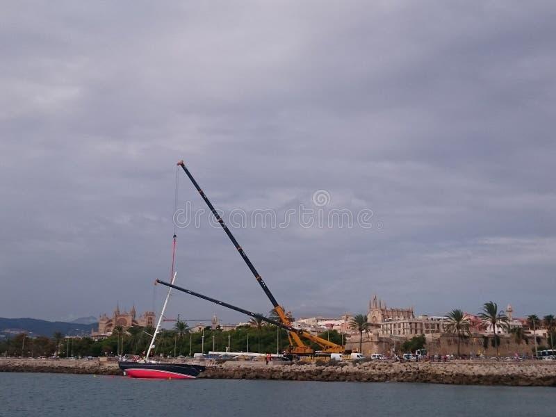 Segelboot in Palma de Mallorca stockbilder