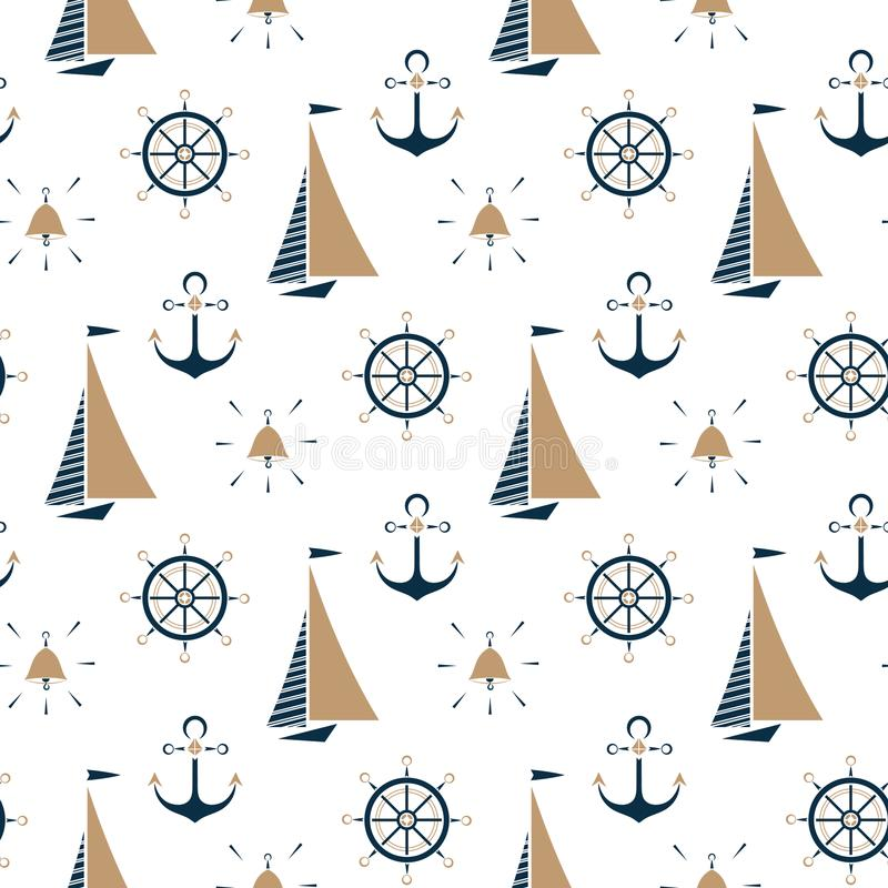 Segelboot, Schiffsglocke, Seeanker, nahtloses Muster des Lenkrads vektor abbildung