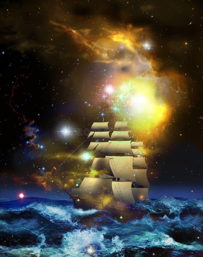 Segelboot und Universum lizenzfreie abbildung