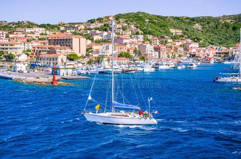 Segelboot vor Hafen-La Maddalena Island, Sardinien, Italien lizenzfreies stockbild